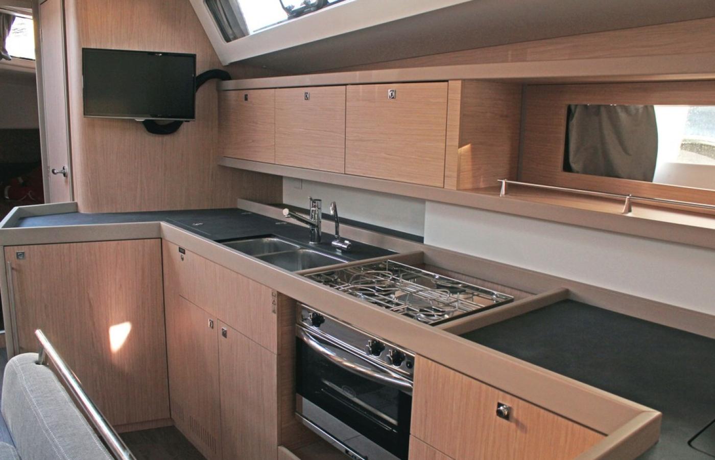 Modern appliances inside the galley