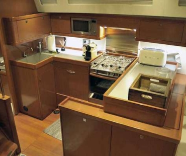 Galley with cooker and freezer