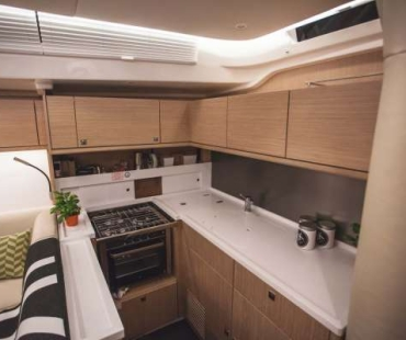 Galley with large work top and appliances