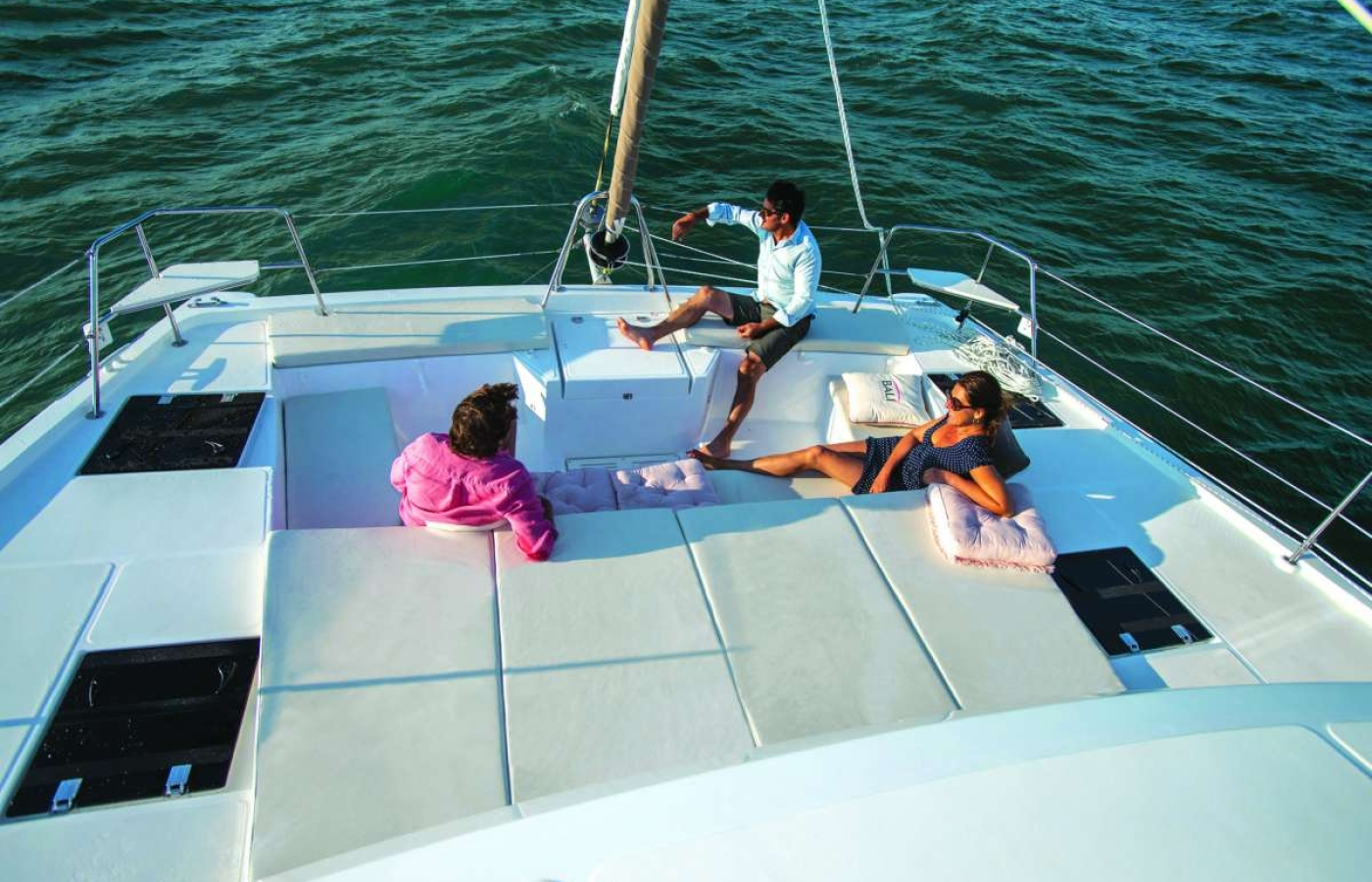 Guests relaxing on bow sunpads